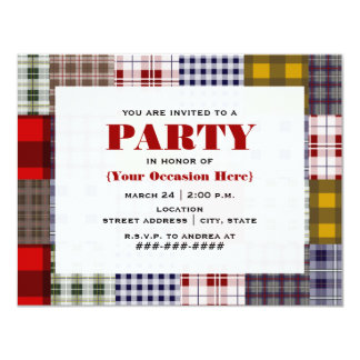 Preppy Patchwork Plaid Party Invitation