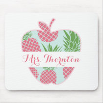 Preppy Pineapple Print Apple Personalized Teacher Mouse Pad