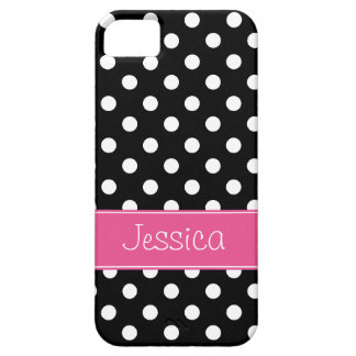 Preppy Pink and Black Polka Dots Personalized iPhone 5 Cover
