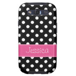 Preppy Pink and Black Polka Dots Personalized Galaxy SIII Covers