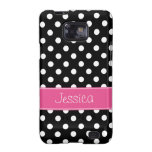 Preppy Pink and Black Polka Dots Personalized Samsung Galaxy S Cover