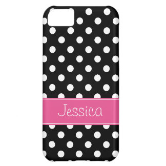 Preppy Pink and Black Polka Dots Personalized Case For iPhone 5C