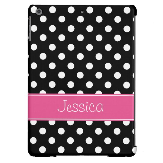 Preppy Pink and Black Polka Dots Personalized iPad Air Cover