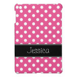 Preppy Pink and Black Polka Dots Personalized iPad Mini Cover