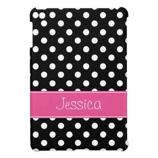 Preppy Pink and Black Polka Dots Personalized Cover For The iPad Mini