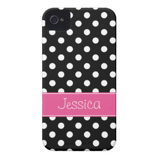Preppy Pink and Black Polka Dots Personalized iPhone 4 Case