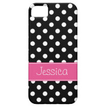 Preppy Pink and Black Polka Dots Personalized iPhone SE/5/5s Case