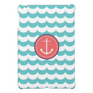 Preppy pink and blue Anchor with Waves Pattern iPad Mini Cover