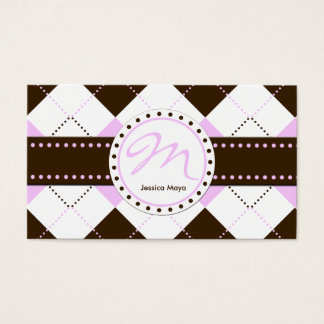 Preppy Pink and Brown Checker Patterns Business Card