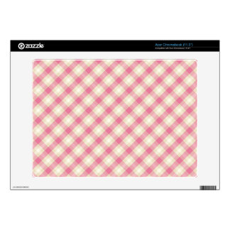 preppy pink and cream gingham plaid pattern acer chromebook decals