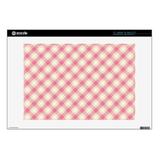 preppy pink and cream gingham plaid pattern laptop decals