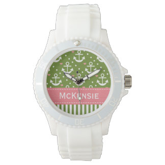 Preppy Pink and Green Anchor Nautical Wrist Watch