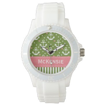 Beach Themed Preppy Pink and Green Anchor Nautical Wristwatch