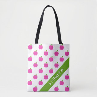 Preppy Pink and Green Apples Personalized Tote Bag