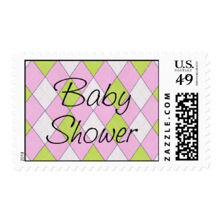 Preppy Pink and Green Argyle Baby Shower Postage