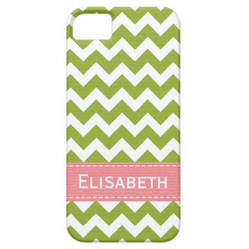Preppy Pink and Green Chevron iPhone 5 Case