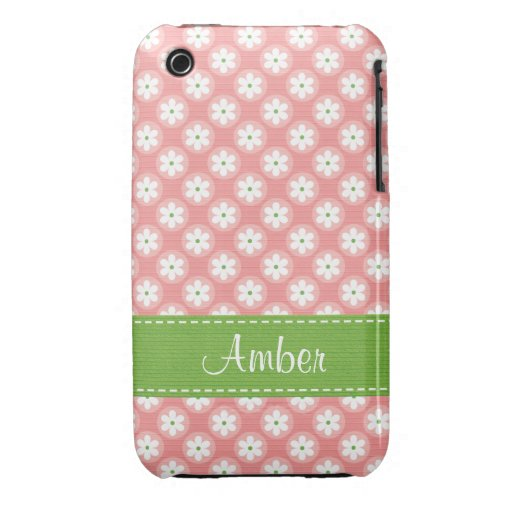 Preppy Pink and Green Daisy iPhone 3 Case