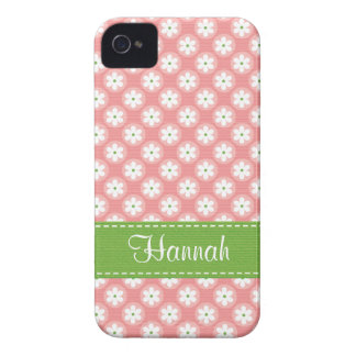 Preppy Pink and Green Daisy iPhone 4 Case Cover