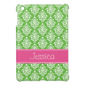 Preppy Pink and Green Damask Personalized Case For The iPad Mini