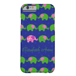 Preppy Pink and Green Elephants iPhone6 Case Barely There iPhone 6 Case