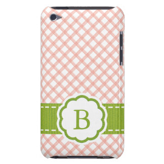 Preppy Pink and Green Gingham Monogram Barely There iPod Cases