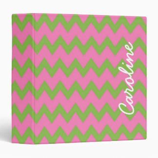 Preppy Pink and Green Personalized Chevron Binder