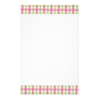 Preppy Pink and Green Plaid Stationery
