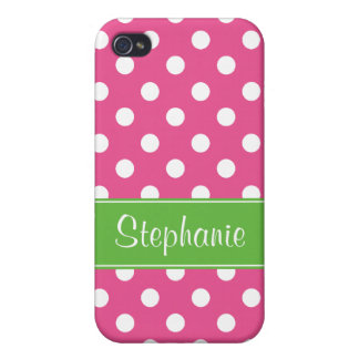 Preppy Pink and Green Polka Dots Personalized iPhone 4 Case