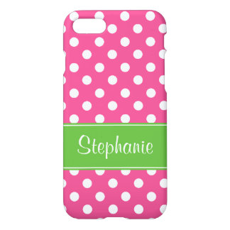 Preppy Pink and Green Polka Dots Personalized iPhone 7 Case