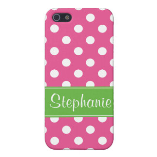 Preppy Pink and Green Polka Dots Personalized iPhone 5 Cover