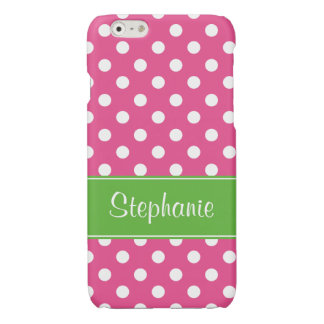Preppy Pink and Green Polka Dots Personalized Glossy iPhone 6 Case
