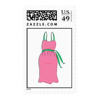 Preppy Pink and Green Pregnant Maternity Dress Postage Stamp