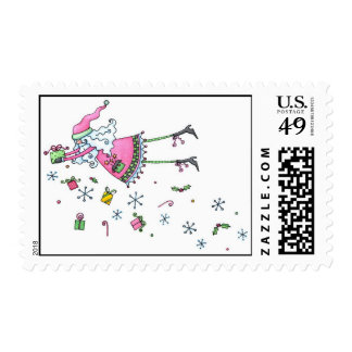 Preppy Pink and Green Santa Bearing Gift Postage