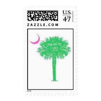 Preppy Pink and Green SC Palmetto Tree Postage