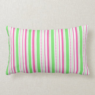 Preppy Pink and Green Stripes and Dots Pillow