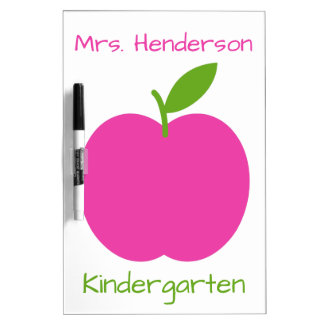 Preppy Pink and Green Teacher's Apple on White Dry Erase Board