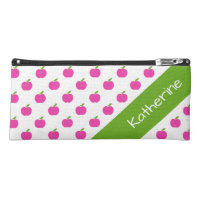 Preppy Pink and Green Teacher's Apples Personalize Pencil Case