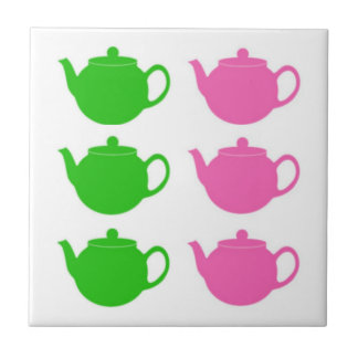 Preppy Pink and Green Teapots Ceramic Tile