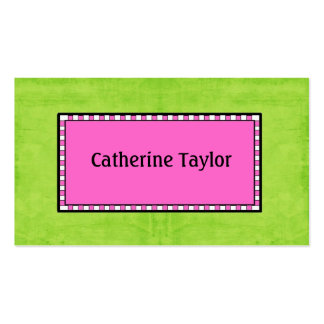 Preppy Pink and Green Watercolor Enclosure Cards Double-Sided Standard Business Cards (Pack Of 100)