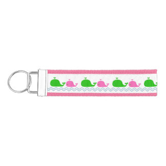 Preppy Pink and Green Whales Wrist Keychain