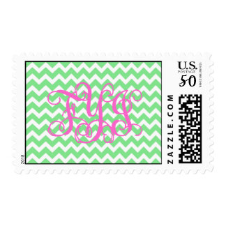 Preppy Pink and Green Zigzag Chevron FYI Monogram Postage
