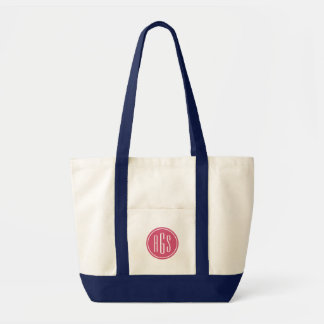 Preppy Pink and Navy Monogram Tote Bag