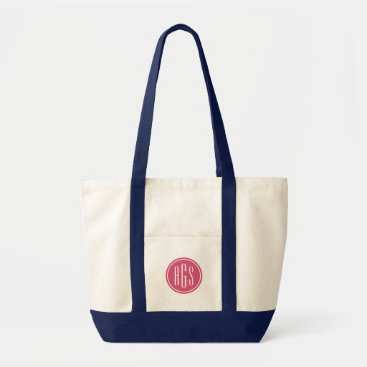 RedwoodAndVine Preppy Pink and Navy Monogram Tote Bag