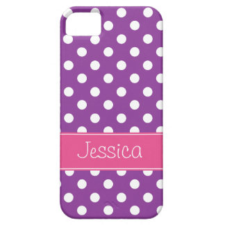 Preppy Pink and Purple Polka Dots Personalized iPhone 5 Cover