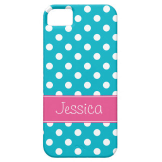 Preppy Pink and Teal Blue Polka Dots Personalized iPhone 5 Covers