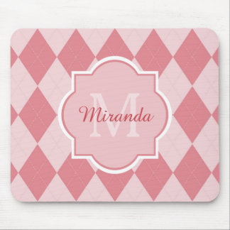 Preppy Pink Argyle Girly Monogram Office Name Mouse Pad