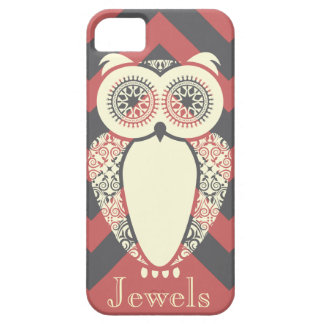 Preppy Pink Chevron Hoot Owl Customize iPhone 5 Cover