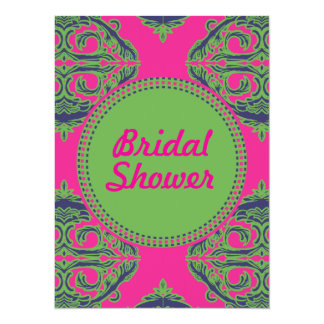 Preppy Pink Damask 5.5x7.5 Paper Invitation Card