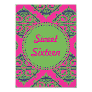 Preppy Pink Damask Personalized Announcements
