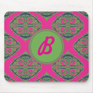 Preppy Pink Damask Mouse Pad